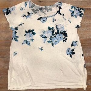 Lucky Brand t-shirt, blue roses, XL